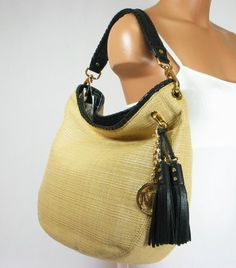 Michael Kors Bennet Large Shoulder Canvas/Straw « Clothing Impulse