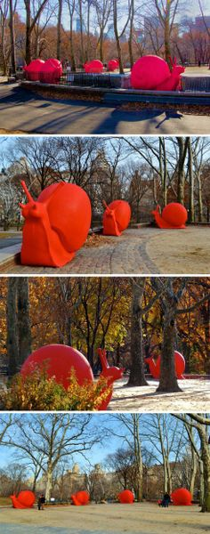 Last year I we did recyclable art with old carboard logos and endangered animals, this could be a comparison or new spin on an old assignment. ReGeneration PRoject, The Cracking Art Group, Giant Red Snails, Sculpture at the Rumsey Playfield in Central Park, Columbus Circle, and Eata...