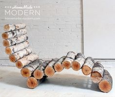 HomeMade Modern DIY Log Lounger Postcard We have logs! We could actually make this - what an awesome chair for the garden! Backyard Furniture, Rustic Furniture, Diy Furniture, Outdoor Furniture, Wicker Furniture, Furniture Projects, Furniture Buyers, Cabin Furniture, Western Furniture