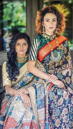 Saree Blouse Neck Designs, Kalamkari Blouse Designs, Ethnic Fashion, Indian Fashion, Kalamkari Saree, Trendy Sarees, Saree Trends, Saree Models, Elegant Saree