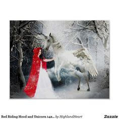 Red Riding Hood and Unicorn Poster Celtic Fantasy Art, Poster Wall, Poster Prints, Fantasy Posters, Make Your Own Poster, Modern Artwork, Red Riding Hood, Tool Design, Free Design
