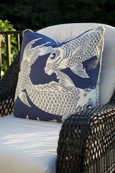 oomph Calypso Navy Woven Pillow