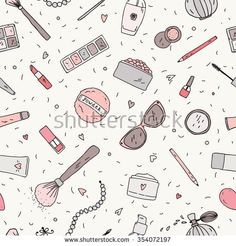 Hand drawn doodle background. Vector seamless pattern  with makeup items - nail polish, mirror, perfume, lipstick, powder brush, necklace, mascara, palette, eye shadow and sunglasses.