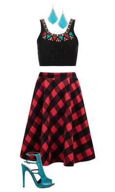 """""""Aqua and red"""" by lauradk58 on Polyvore featuring Topshop, Kendra Scott and Qupid"""