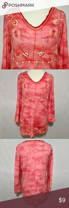 Coral embellished tunic size large Watercolor print. Missing brand and materials tag. Colors may vary slightly to lighting and photos. Flaws as shown in photos. Some pulls along left side seam. Some loose and/or missing beads along hem. Measurements approximately as shown. ❌Smoke and pet free home. ⚡️Same/next day shipping. 💲Save by bundling or make a reasonable offer through the offer button. 🚫No holds, trades or modeling. 📦Wrapped and shipped with care. Tops Tunics