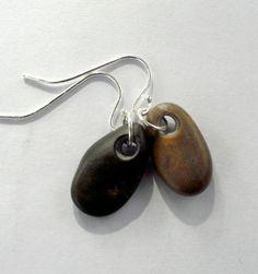 Beach stone jewelry Drop ear rings Sterling silver by oceangifts, $15.99