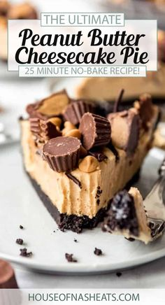 This creamy, dreamy No-Bake Peanut Butter Pie recipe is absolutely irresistible! A buttery Oreo Pie Crust is topped with a tangy-sweet peanut butter cream cheese pie filling which then gets drizzled in chocolate and peanut butter cups. This is a chocolate-peanut butter lover's dream dessert! | no bake peanut butter pie recipe | peanut butter pie recipes no bake | chocolate peanut butter pie no bake dessert recipes | peanut butter pie with oreo crust | peanut butter pie with oreo cookie crust Easy Cheesecake Recipes, Tart Recipes, Best Dessert Recipes, No Bake Desserts, Easy Desserts, Baking Recipes, Yummy Recipes, Easy Peanut Butter Pie, Peanut Butter Cheesecake