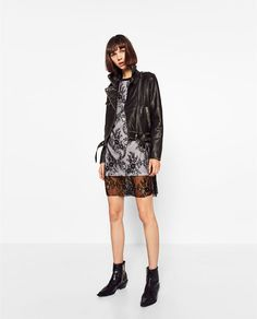 Image 4 of MIXED FABRICS LACE DRESS from Zara