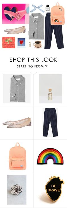 """""""I don't care as long as we're together"""" by saramoran ❤ liked on Polyvore featuring Everlane, Orelia, Christian Louboutin, Herschel Supply Co., Byredo and pride"""