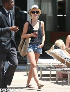Julianne Hough casual-cool for the Summer in a black tank and cutoffs