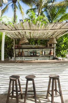 Nest Hotel Tulum   Rustic Beach Bar Decorating Inspiration - White Wood - Outdoor Patio, Handmade Reclaimed Wood Tropical Tiki Bar Ideas  From the Mexico Travel Guide