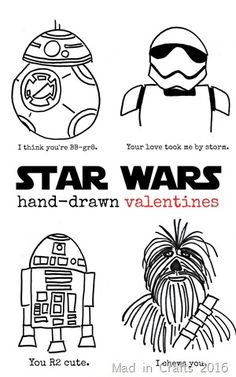 Hand-Drawn Star Wars Valentines #starwars #valentinesday