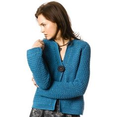 "Twyla is a sweet crocheted cardigan that is worked in a simple yet visually interesting cluster stitch and closed with a single button. Originally worked in Berroco Softwist, this sweater has been adapted for their gorgeous Ultra Alpaca yarn. Size: XS (S, M, L, XL) Finished Measurements: Bust (closed) – 32(36-40-44-48)""; Length – 20 1/2(20 1/2-21-21 1/2-22)"" Yarn Requirements: 7(7-8-10-11) Hanks Berroco Ultra Alpaca Hook(s): US size I/9 (5.5mm) crochet hook Gauge: 8 cluste..."