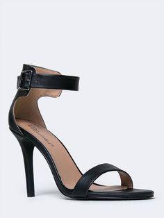 - A simple ankle strap sandal will present a sophisticated yet sexy look! - Vegan leather heels have a buckle closure on the side, a single strap across the toes and a tapered heel. - Non-skid sole an