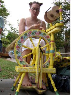 Custom Wheel. #knittingcentral, #spinning, #spinningwheels.