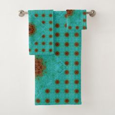 brown and green bathroom accessories. #Rust Brown And Teal Green Mandala Tile Bath Towel Set - #Bathroom # Accessories Bathroom