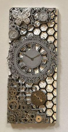 By Sheila Kneale Mixed Media Artwork, Mixed Media Canvas, Wood Block Crafts, Handmade Clocks, Magazine Crafts, Clay Art Projects, Weird Gifts, Junk Art, Steampunk Diy