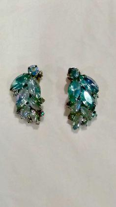 Aqua Rhinestone Earrings// Vintage Sparkle by TashasVintageAndArt