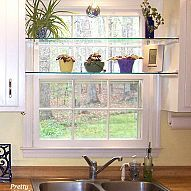 Adding glass shelves between two sets of cabinets in front of the kitc… :: Hometalk