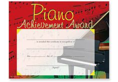 "COLORFUL PIANO AWARD CERTIFICATES PKG/25 - 11"" x 8½"". Pkg. of 25. Downloadable template for this certificate is available."