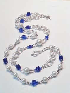 Wedding White 2pc Pearls and Blue Glass Cubes  by CinfulDesigns, $34.00