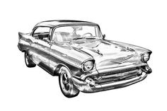 1957 Chevy Belair Illustration prints, posters, canvas prints, phone cases, throw pillows, tote bags, greeting cards and more.
