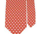 Necktie - Coral Polka Dot Necktie - Debden - Newborn through Adult TIe Sizes. $20.00, via Etsy.