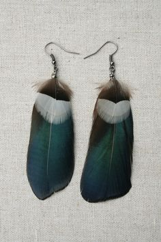 These earrings are handmade using Blue Amherst Pheasant & small white and black Feathers featuring black gunmetal findings.   EARRING DETAILS  -