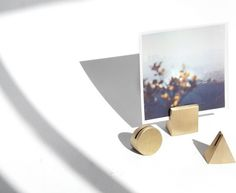 Yield Design Co. Brass Geo Stands – Set of 3 ($60): Display your favorite photos with these chic brass geometric-inspired photo stands. They're simpler than frames but make twice the statement.