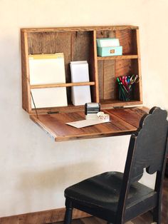 Drop Down Secretary Desk - Wall Mounted - Desk For Small Spaces - Secretary Desk