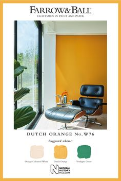 To bring a touch of nature to your space, pair our lively Dutch Orange with splashes of Verdigris Green and Orange Coloured White. Green And Orange, Orange Color, Yellow, Living Room Orange, Eco Friendly Paint, Room Color Schemes, Orange Walls, Minimalist Kitchen, Farrow Ball