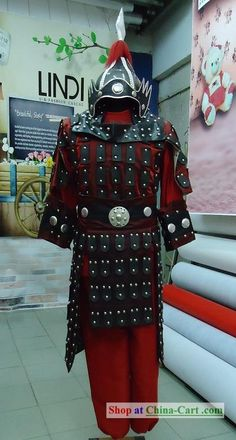 Ancient Chinese General Armor Costumes and Helmet Complete for display or for cosplay