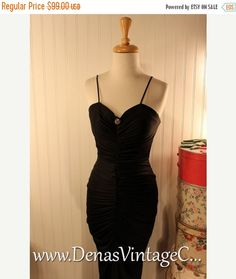 50% OFF Labor Day Sale Vintage 80s Fredericks of Hollywood Black Ruched Party Cocktail Wiggle Dress sz S