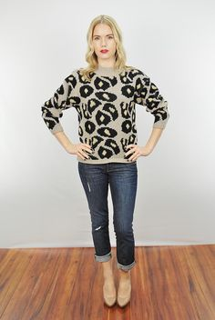 Vtg 80s Animal Print Retro Revival Cropped Knit Sweater Jumper Top Small | eBay