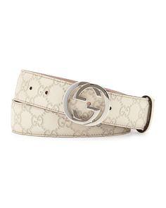 N3DEL Gucci Interlocking G-Buckle Leather Belt, Medium White