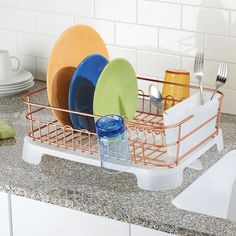 mDesign Large Kitchen Counter Dish Drying Rack with Swivel Spout - Copper/Clear, Brown/clear Large Kitchen Counters, Kitchen Dishes, Kitchen Countertops, Kitchen Dish Drainers, Water Spout, Kitchen Organisation, Metal Rack, Copper, Brown