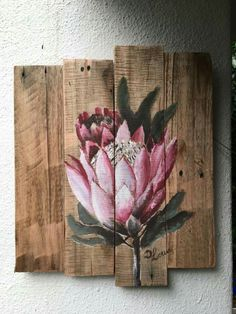 Pintura decorativa Pallet Painting, Pallet Art, Painting On Wood, Painting Flowers, Flor Protea, Protea Art, Floral Drawing, Tropical Art, Bird Drawings