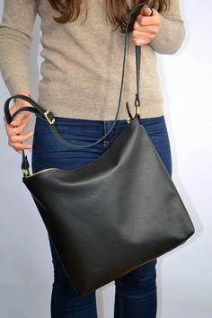 LEATHER HOBO BAG, Black Leather bag, Women Leather Handbag, Black Crossbody  Bag, Soft Leather Bag, Leather Purse, Sac Bag - Barcelona Bag 09c20c62a6b