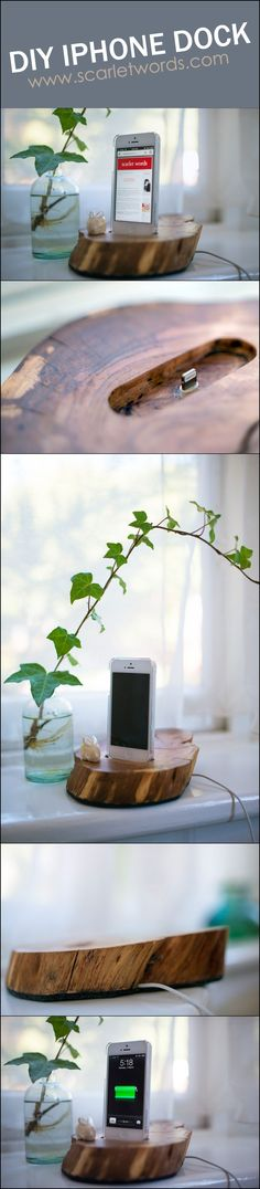 How to make an iphone dock from a piece of wood. Awesome! #iphone #diy #craft