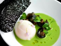 Try with either Nettles or Peas, poached egg and escargot or mushroom