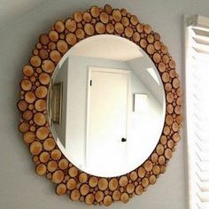 DIY mirror with wood slices – doing this to my plain oval mirror in downstairs BR. DIY mirror with wood slices – doing this to my plain oval mirror in… Spiegel Design, Designer Spiegel, Wood Slice Crafts, Handmade Mirrors, Diy Casa, Circular Mirror, Deco Originale, Diy Mirror, Mirror Ideas