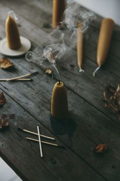 Pure English Beeswax Stubby Candles. Create the perfect Autumn table full of seasonal mood.