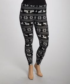 Take a look at this Black & White Deer Leggings - Plus by jon & anna on #zulily today!