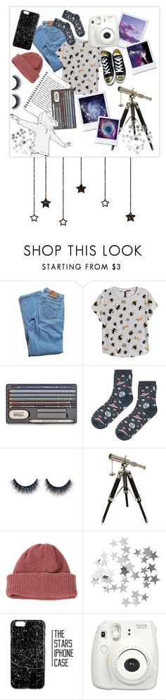 """""""Space Girl"""" by fandoms-life ❤ liked on Polyvore featuring Levi's, H&M, Topshop, IMAX Corporation, CA4LA, Fujifilm and Converse"""