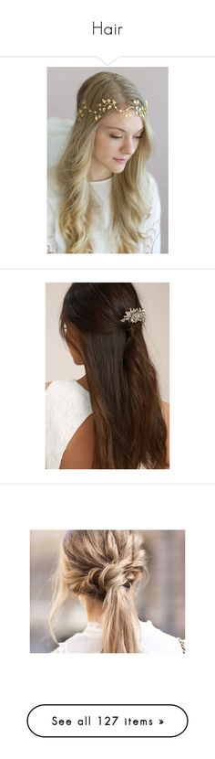 """Hair"" by valeriava2068 ❤ liked on Polyvore featuring accessories, hair accessories, hair, gold, leaf headband, bride headband, hair band headband, glitter headbands, swarovski crystal hair accessories and gold comb"