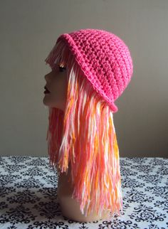 Handmade Wig Hat Yarn Hat Crochet Funky Hat Short by GrahamsBazaar Crochet  Hats 05dc297a5f22