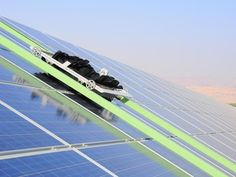 Robots clean #SolarPanels in Israel without using water