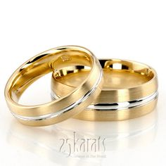 Convex Grooved Two-Tone Wedding Ring Set; LOVE together = under $1000