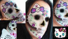 Hello Kitty's all grown up and she's up to no good! Ines Kacijan Gina created this creepy kitty sugar skull using Sugarpill Poison Plum, Dollipop and Sweetheart palette eyeshadows. Pretty Halloween, Halloween Make Up, Halloween Face Makeup, Halloween Ideas, Samhain Halloween, Halloween Rocks, Halloween Costumes, Sugar Skull Makeup, Sugar Skull Art