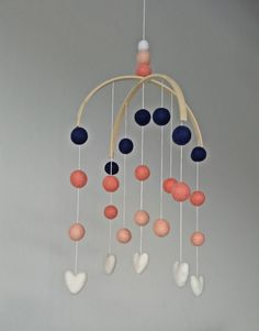 Baby Mobile : Coral Delight with navy by MandysFavoriteThings